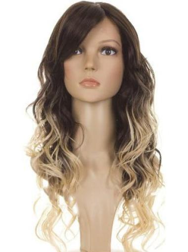 New Arrival 24 Inch long Wavy Style Lace Front 100% Remy Hair Ombre Wigs