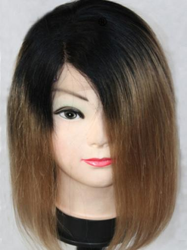 Discount Shoulder Length Straight Style Without Bangs Lace Front 100% Remy Hair Ombre Wigs
