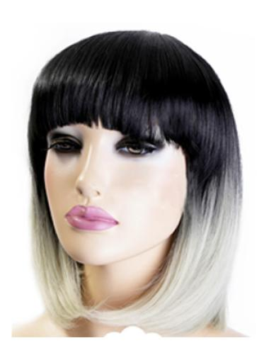 Discount Chin Length Straight Style Without Bangs Lace Front 100% Remy Hair Ombre Wigs