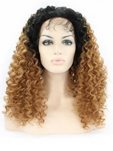 Amazing 22 Inch long Curly Style Lace Front 100% Remy Hair Ombre Wigs