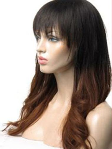 Affordable 24 Inch long Wavy Style Lace Front 100% Remy Hair Ombre Wigs