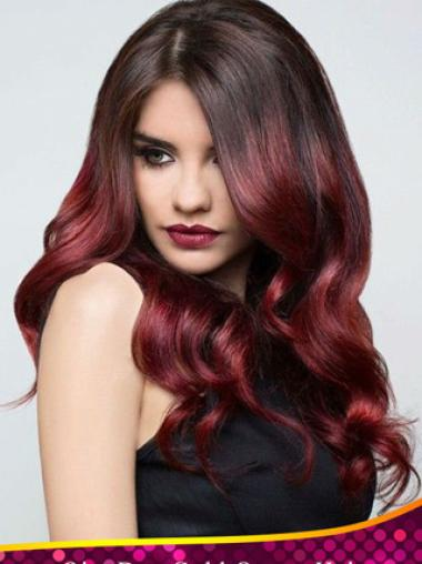 Fabulous 24 Inch long Wavy Style Lace Front 100% Remy Hair Ombre Wigs