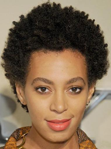 Zoë Kravitz Classic Afro Hairstyle Short Kinky Curly Hand Made Wig 100% Real Human Hair