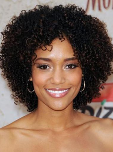 New Fashion Afro Bob Hairstyle Short Kinky Curly Lace Wig 100 Human Hair 14 Inches