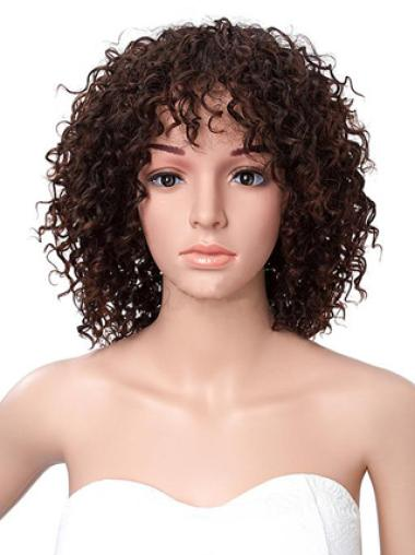 Short Kinky Curly African American Lace Front Human Wigs 14 Inches