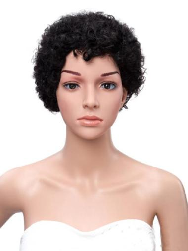 Short Kinky Curly Black Women Human Hair