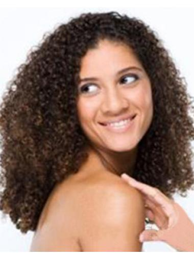High Quality Amazing African American Hairstyle Long Kinky Curly Brown Lace Wig 100% Human Hair