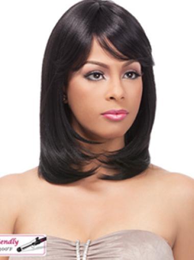 Yaki Shoulder Length Black Real Human Wigs