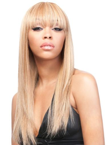 Yaki With Bangs Blonde Lace Wigs