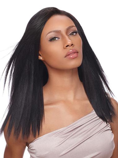Yaki Black Long Straight Style Human Wigs