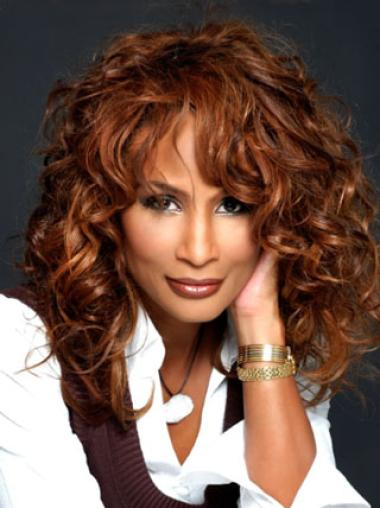 Beverly Johnson Feminine Mid-length Wavy Lace Human Hair Wig 16 Inches with Bangs