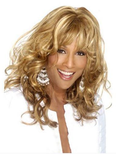 Beverly Johnson Excellent Long Curly with Wavy-style Lace Front Human Hair Wig with Bangs 18 Inches