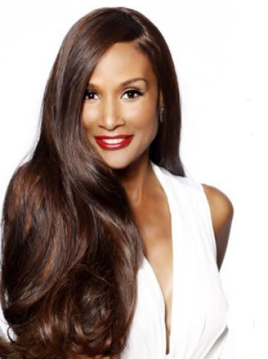 Beverly Johnson Flowing and Flowery Long Wavy Lace Human Hair Wig