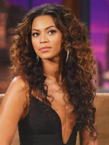 Beyonce Knowles Knock-out 100% Human Hair Long Curly Full Lace Wig about 22 Inches