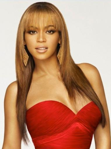Beyonce 20 Inches Remy Hair Long straight with Bang Lace Wig