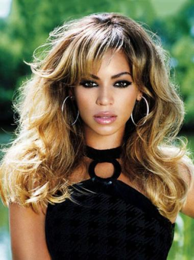 Romantic Beyonce 18 Inches 100% Remy Human Hair Long Wavy Lace Wig