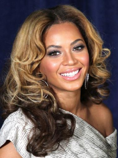 Beyonce Knowles Mature and Genial 100% Human Hair Long Wavy Lace Front Wig about 16 Inches
