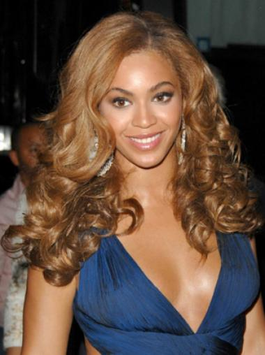 Beyonce Knowles Fabulous 100% Human Hair Long Spiral-curly Glueless Lace Front Wig about 22 Inches