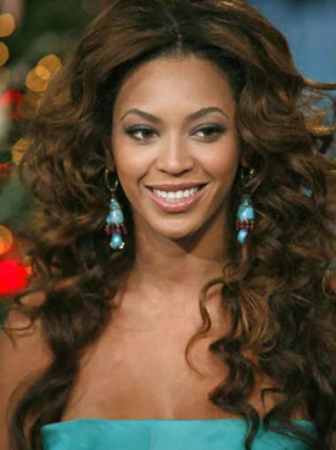 Beyonce Knowles Knock-out 100% Human Hair Long Wavy Full Lace Human Hair Wig about 22 Inches