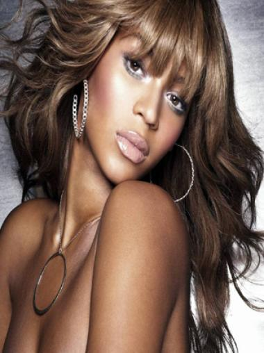 Fashion Style Beyonce 22 Inches Human Hair Lace Wig With Bang