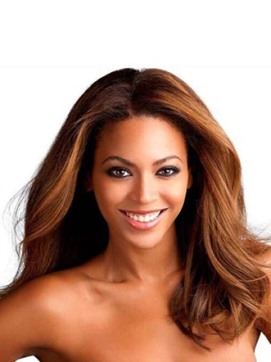 Beyonce Knowles Sexy 16 Inches mid-length Wavy 100% Human hair Lace Front Wig