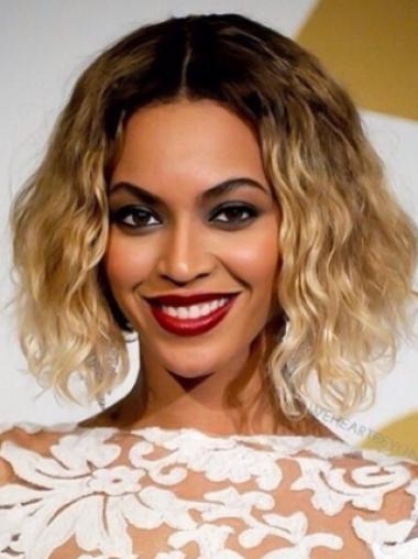 Beyonce Knowles Classic 100% Human Hair Short Wavy Lace Wig about 12 Inches