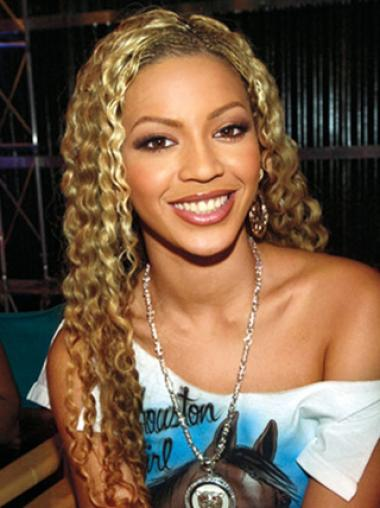 Beyonce Knowles Natural 24 Inches Long Curly Lace Front Human Hair Wig