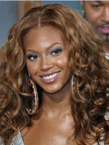 Beyonce Knowles100% Human Hair Stylish Mid-length Curly Full Lace wig about 16 inches