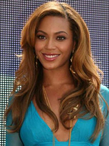 Beyonce Knowles 100% Human Hair Graceful Beautiful Long Wavy Full Lace Wig about 20 Inches