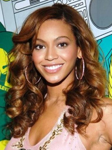 Beyonce Knowles Casual Cute Hairstyle Custom Long Wavy Full Lace Human Hair Wig about 18 Inches