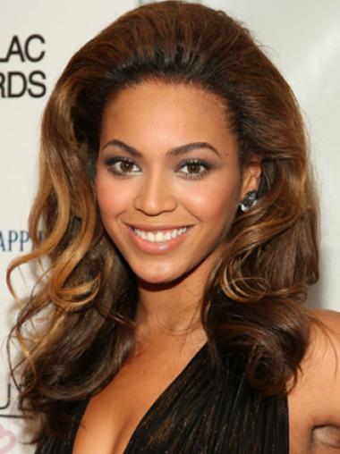 Beyonce Knowles 100% Indian Human Hair Queenlike Long Wavy Full Lace Wig about 18 Inches