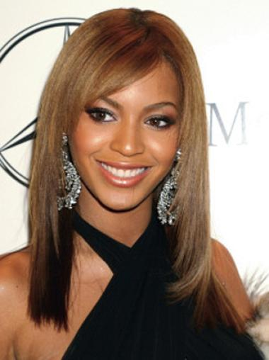 Beyonce Hairstyle Fashionable Graceful Custom Long Layered Straight Full Lace Human Hair Wig about 16 Inches
