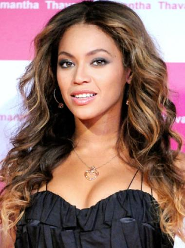 Beyonce Knowles High Quality 100% Indian Human Hair Lace Front Long Wavy Wig about 20 inches