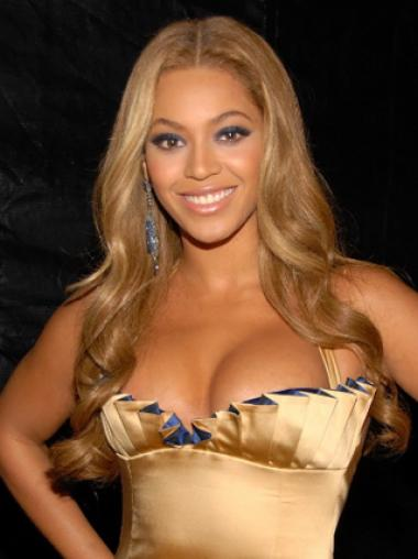 Beyonce Knowles Elegant 100% Indian Human Hair Full Lace Long Wavy Wig about 22 Inches