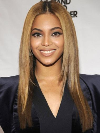 Beyonce Knowles Pretty Layered Glossy Long Straight Lace Front Human Hair Wig About 18 inches