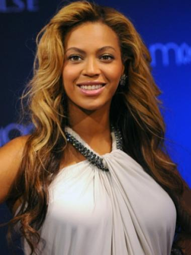 Beyonce Knowles Amazing 100% Human Hair Long Wavy Glueless Lace Front Wig about 24 Inches