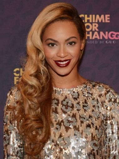 Beyonce Knowles Flowery and Sexy 100% Human Hair Long Wavy Full Lace Wig about 22 Inches