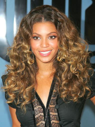 Beyonce Knowles Fluffy 100% Human Hair Long Curly Lace Front Wig about 18 Inches