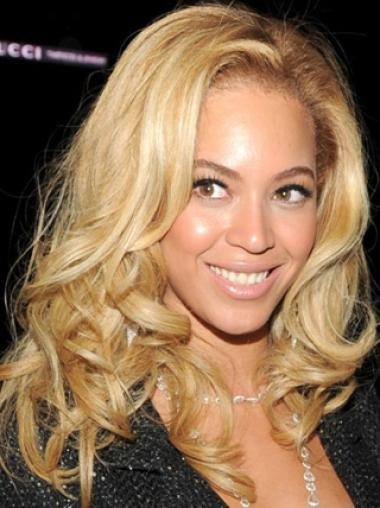 Beyonce Knowles Bright Blond 100% Human Hair Mid-length Wavy Glueless Lace Front Wig about 14 Inches