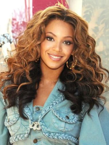Beyonce Knowles Romantic and Stylish Long Wavy Full Lace Human Hair Wig about 20 Inches