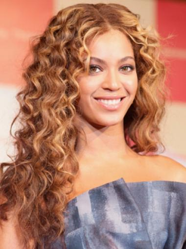 Beyonce Knowles Knock-out Long Curly Glueless Lace Front Human Hair Wig about 22 Inches