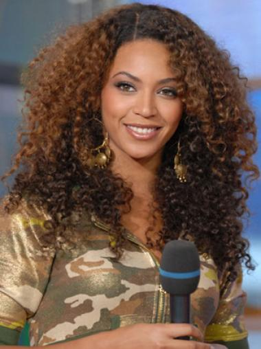 Beyonce Knowles 100% Human Hair Long Kinky Curly Full Lace Wig about 18 Inches