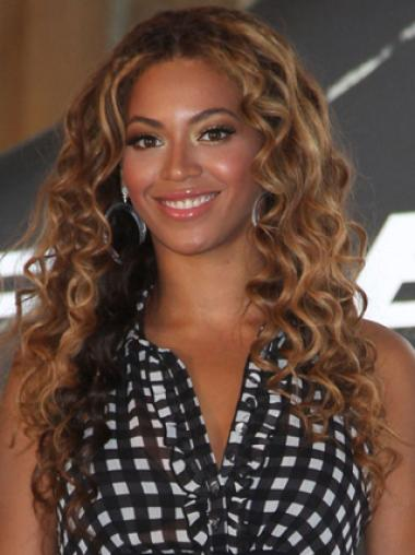 Beyonce Knowles Quietly Elegant Long Layered Curly Full Lace 100% Human Hair Wig about 20 Inches