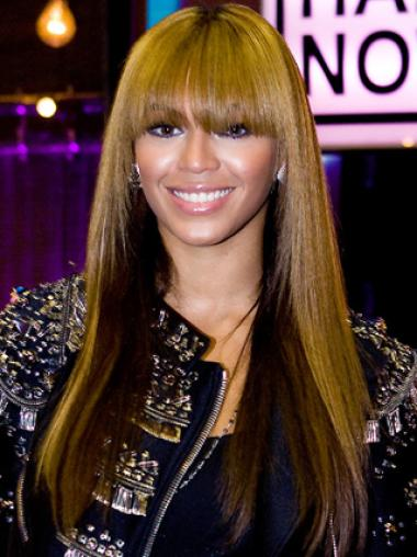 Beyonce Knowles Trendy Lovely 100% Human Hair Long Straight Glueless Lace Front Wig about 20 Inches with Blunt Bangs