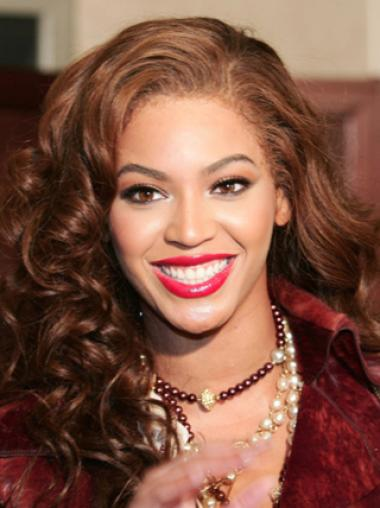 Beyonce Knowles Classic and Glamorous Human Hair Long Bouncy Spiral-curly Lace Front Wig about 16 Inches