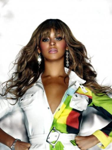 Beyonce Knowles Avant and Sexy 100% Human Hair Long Wavy Glueless Lace Front Wig with Bangs about 16 Inches
