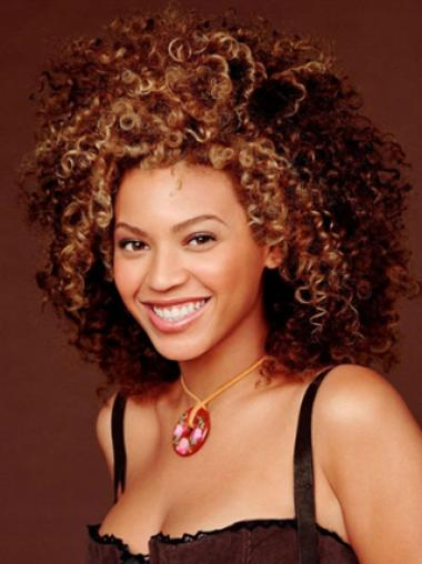 Beyonce Knowles Wild Curl-up Mid-length Layered Curly Lace Front Wig about 12 Inches