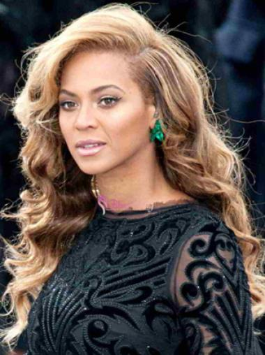 Beyonce Knowles Breathtaking 100% Human Hair Long Wavy Lace Front Wig about 22 Inches