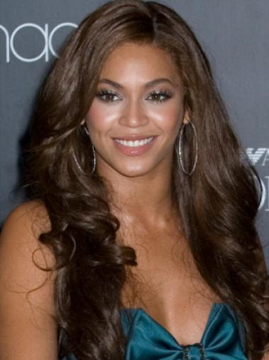 Beyonce Knowles Elegant Asian-style 100% Human Hair Long Wavy Glueless Lace Front Wig about 24 Inches