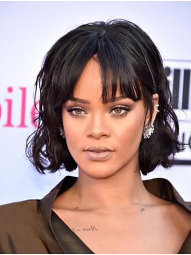 """Black 10"""" Wavy Bobs Chin Length Rihanna Wigs"""